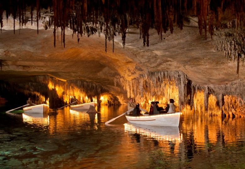 boats inside the caves